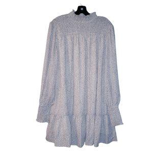 VICI Smocked Mock Neck Babydoll Tiered Dress